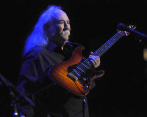 David Crosby puts on his guitar as Crosby Stills and Nash play to a capacity crowd at Marin Veterans' Memorial Auditorium on Sunday, Sept. 23, 2012, in San Rafael, Calif. (IJ photo/Frankie Frost)