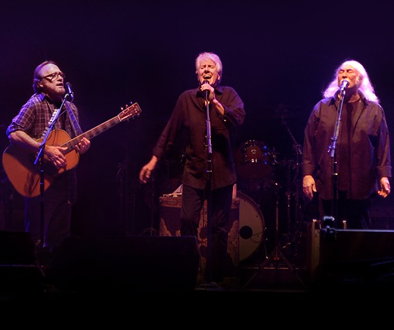 Graham Nash (center) with Stephen Stills (left) and David Crosby. The band kicks off its latest tour in Richmond on Tuesday, with Crosby recuperating from a recent heart operation.